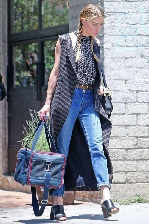 Amber Heard wearing Givenchy Ramia Leather Mules and Chloe Hudson Bag