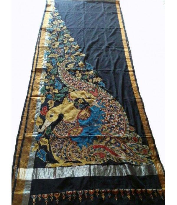 Black Peacock Pure Handloom Kalamkari Hand Painted Silk Saree