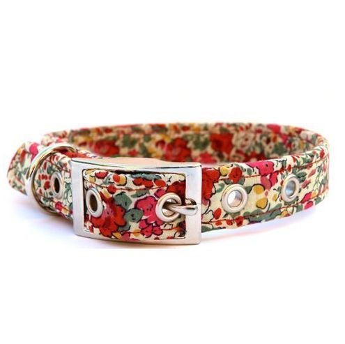 Liberty Print Flowers Red & Pink Stylish Dog Collar £12.00 from #hugoandhennie http://www.hugoandhennie.com/dog-collars-leads/collar-liberty-flowers-red-and-pink.html