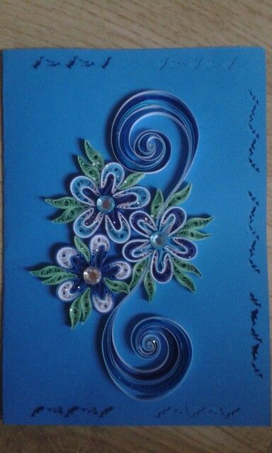 Card blue by quilling catalina