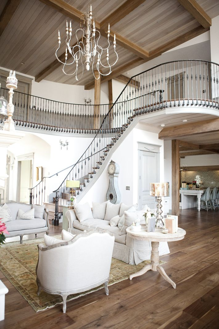 wood ceiling and beams and stairs