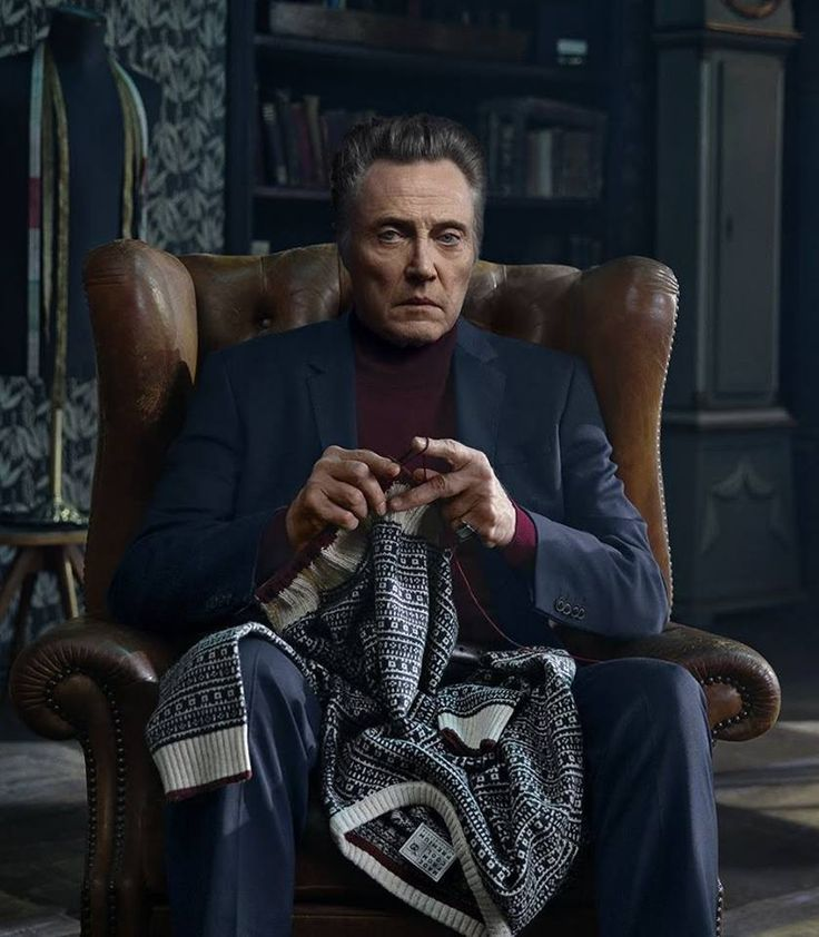 Christopher Walken (I hate to be the death of the party, but... he's clearly isn't knitting that XD i can see a tag... and you knit a shirt in pieces that you sewn together afterwards, not in one piece like that)
