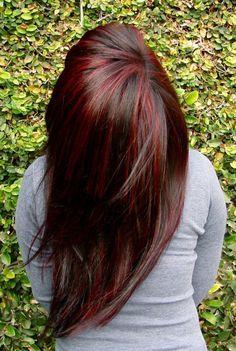 Red Peek A Boo Highlights | Dark red hair - highlights / lowlights