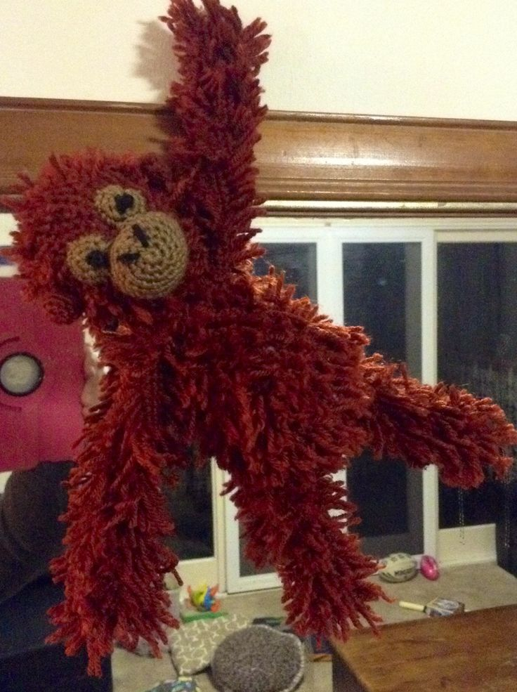 Blake the orangutan from pattern in Edward's Menagerie. Completed in acrylic. That fur stitch is an absolute trial!! #edsanimals
