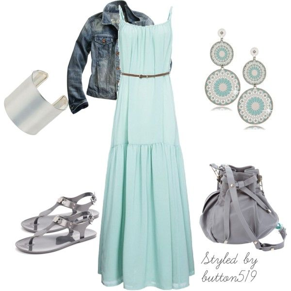 Turquoise Yuna Belted Maxi Dress, created by button519 on Polyvore