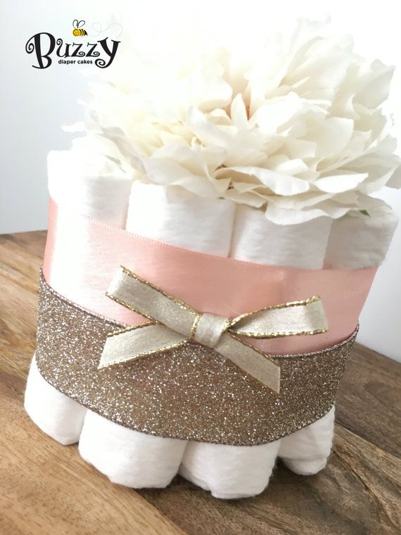 Soft Gold Sparkle and Peachy Pink Satin Mini Diaper Cakes, with light ivory flower blossom topper, Set of 3 Minis  You will receive a set of 3