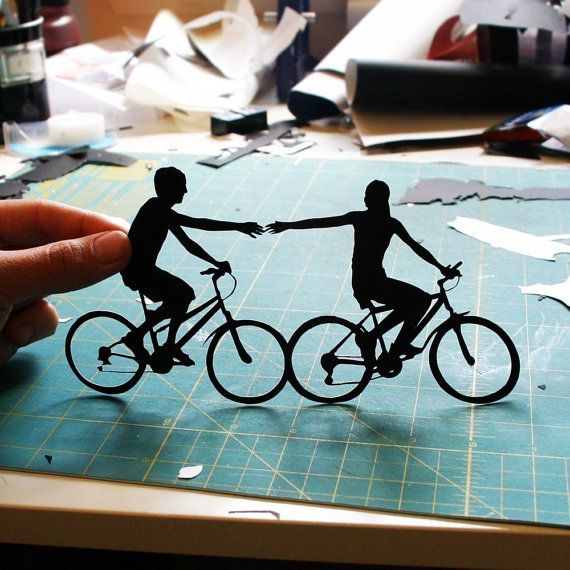 Couple on Bikes  Bicycle Silhouette As Seen in by papercutsbyjoe, $70.00