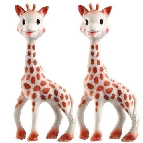 Vulli Sophie the Giraffe Teether Set of 2: http://www.amazon.com/Vulli-Sophie-Giraffe-Teether-Set/dp/B002VAISOM/?tag=httpbetteraff-20