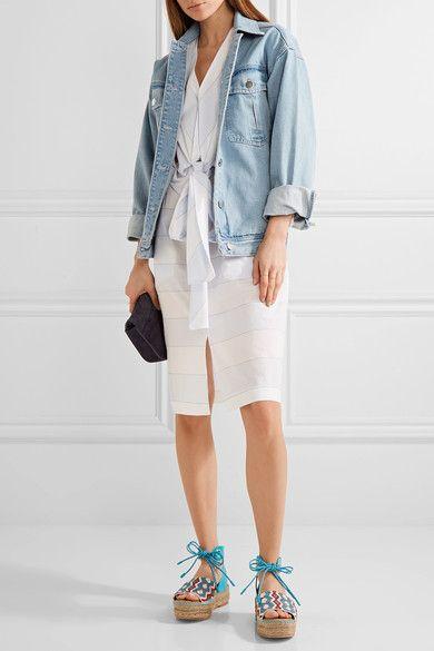 Sam Edelman - Neera Bead-embellished Leather Espadrille Sandals - Bright blue - US8.5