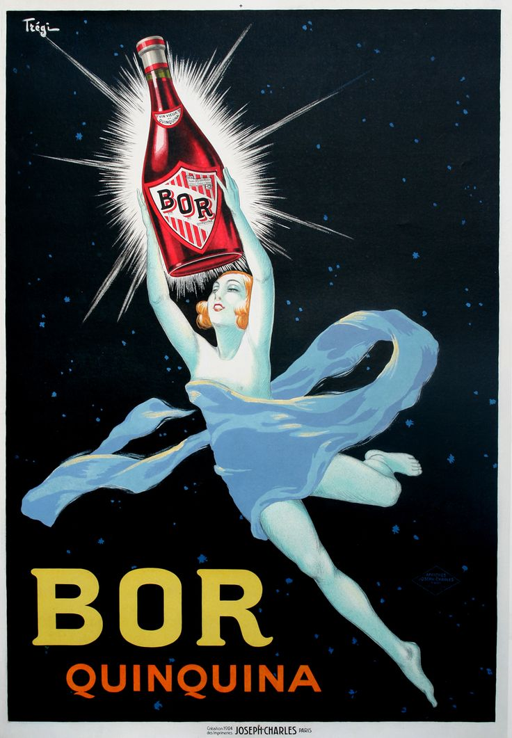 This is an original first printing poster by the artist, Tregi. It features an alluring being against the night sky, holding a glowing bottle of Bor Quinquina! It was printed in 1924! Check it out on our website: http://www.postergroup.com/details.asp?posterid=2849
