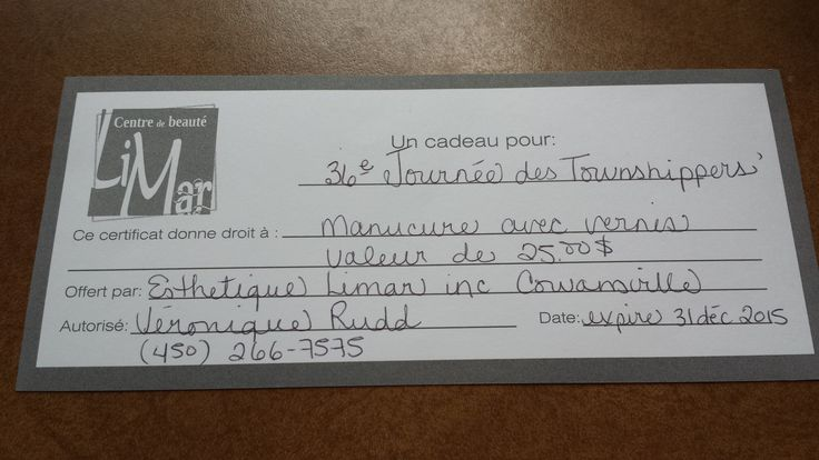 Gift certificate for a manicure and polish application from Esthetique Limar in Cowansville