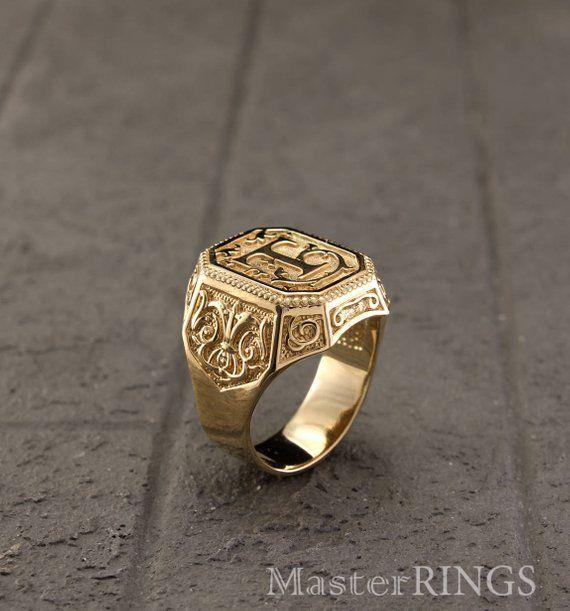 Stainless Steel Floral Monogram Letter L Mens Square Biker Style Signet Ring
