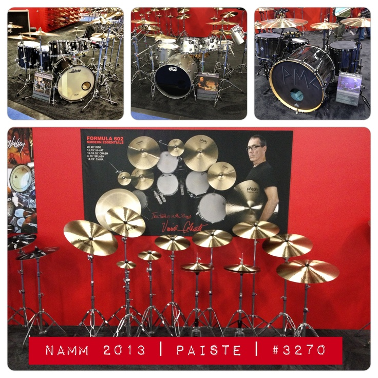 Paiste Artist/Endorsee drum sets at Winter NAMM 2013 (L - R): Vinnie Colaiuta (#Sting) - Ludwig Black Galaxy set | Josh Freese (#Weezer) - DW Collector's set played on NIN Tour and many others | Abe Laboriel (#Paul McCartney) - DW Collector's set currently played with Sir Paul McCartney. @PaisteNation @DrumWorkshop @LudwigHQ @remopercussion