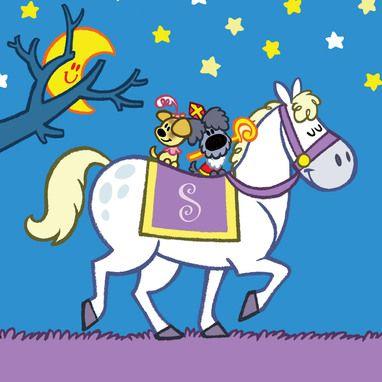 Woezel en Pip op het paard van Sinterklaas.