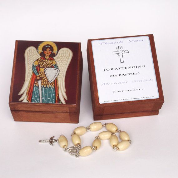 St Michael prayer box Saint Michael the Archangel jewerly box Angel box Personalized favors Rosary box Keepsake box Guardian angel gifts