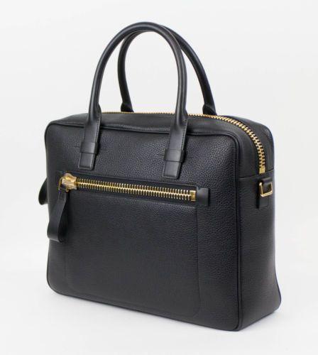 New-TOM-FORD-Large-Black-Pebbled-Leather-Shoulder-Briefcase-Bag-3395