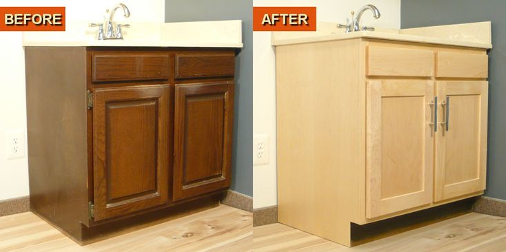 Refaced Bathroom Vanity Using A Maple Cabinet Refacing Kit