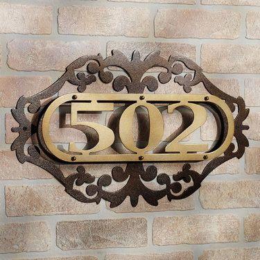 house number plaque vertical modern sign home depot gold metal address