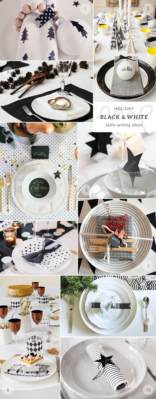 50 Christmas and New Year's table setting ideas picks by My Paradissi- the black and white table setting