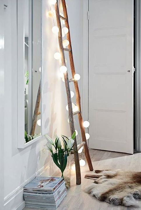 Luxury Ladder lights such a cool way to light a small space May like this in the garden room