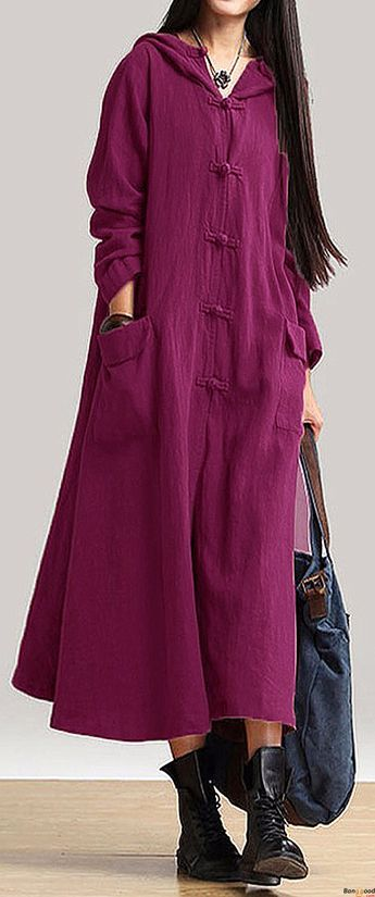 US$19.99 + Free shipping. Size: S~5XL. Color: Black,Burgundy,Coffee,Green,Khaki,Navy,Purple,Yellow. Loving this casual and vintage style. Vintage Women Long Sleeve Plate Buckles Pocket Hooded Maxi Dresses. #women #dresses#2018