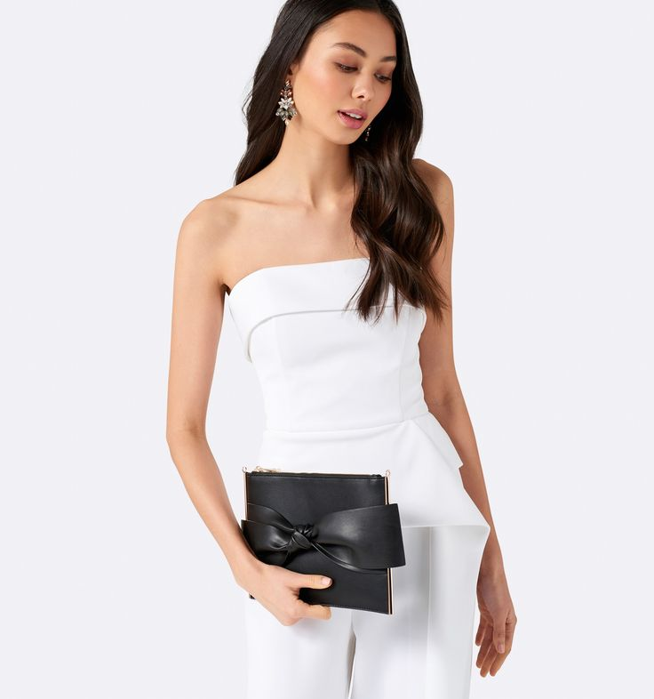 Emilia Bow Pouch Black - Womens Fashion | Forever New