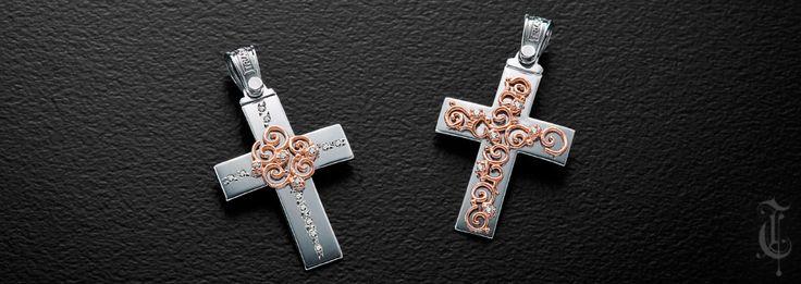σταυροί βάπτισης, βαπτιστικοί σταυροί Τριάντος, gold crosses jewelry κωδικοί προϊόντων από αριστερά :1.1.1199 και 1.1.1203.