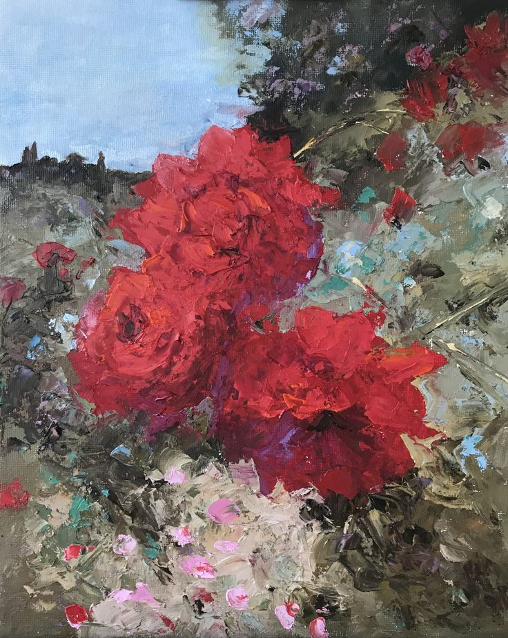 T.Andreeva.Красные розы.картон,масло.