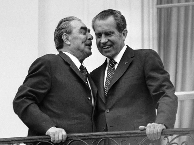 But anti-American propaganda for the public was like a religion: Richard Nixon, right, shares a joke with his Soviet counterpart Leonid Brezhnev, left, during their 1973 summit. AP
