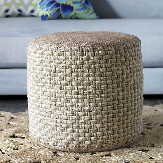 jute pouf in view all pillows/throws | CB2