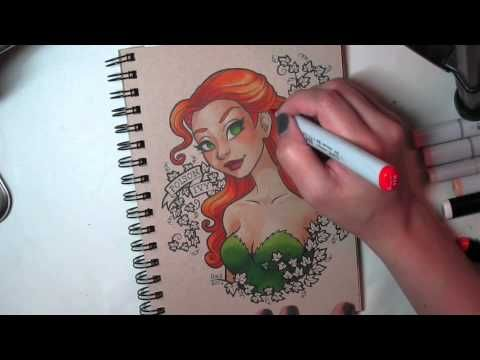 Poison Ivy - Copic Marker Color Process