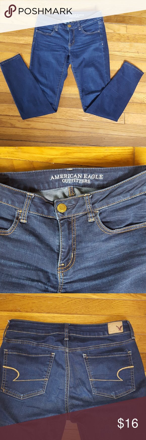 American Eagle Jegging Super Stretch Jeans size 6 Super stretchy American Eagle skinny jeans. Inseam measures 30 inches American Eagle Outfitters Jeans Skinny