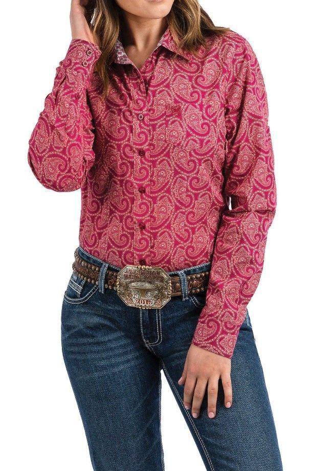18a5ec54 Cinch Women's Fuchsia Paisley Print Button Up Western Shirt #Cinch #Women's  #Fuchsia #Paisley #Print #Button #Up #Western #Shirt #Country #Cowgirls ...
