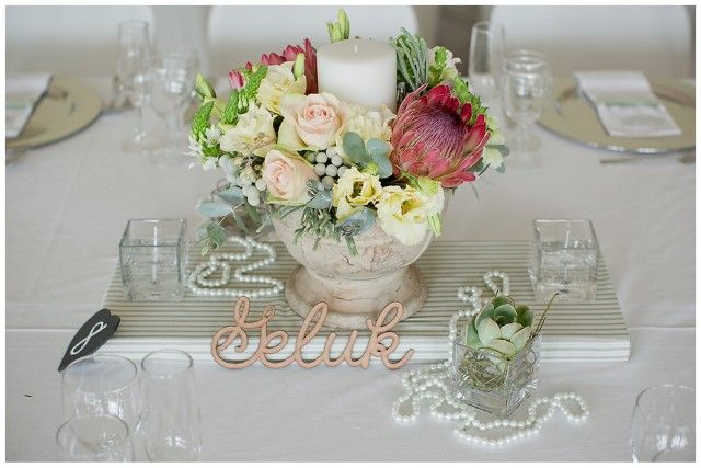 centerpiece- love the fabric-wrapped board underneath!