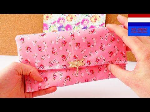 DIY portemonnee naaien | stoffen etui, klein tasje voor make-up, organizer - YouTube