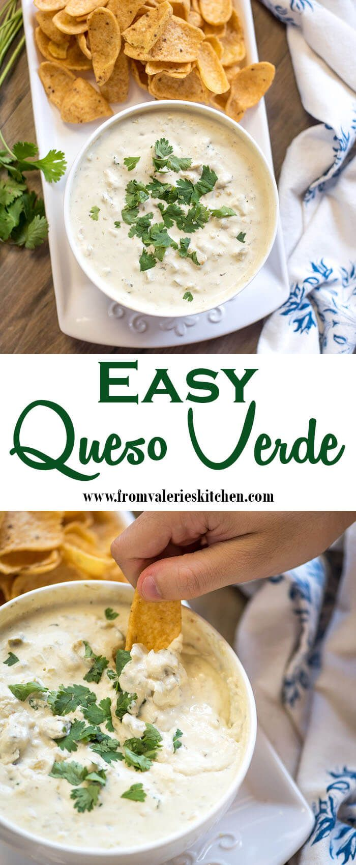 When you need an appetizer and you need it fast this Easy Queso Verde is just the ticket. It's ready, start to finish, in about 5 minutes and I guarantee your guests are going to love it!