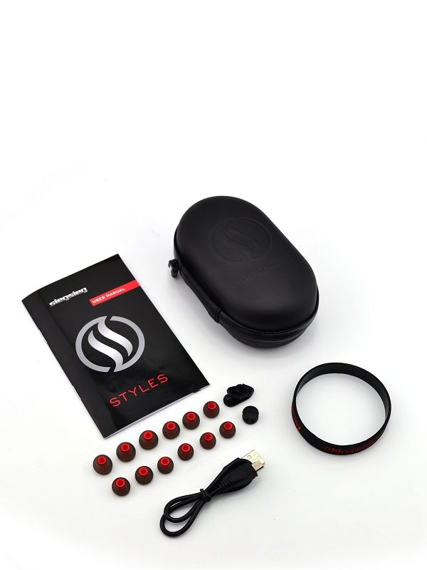 Wireless Headphones accessories - Styles by SIEGSIEG • Sports wireless headphones designed for discreetly styled individuals. • Extra eartips for when you will loose those tiny tips • Cable management holders to eliminate any distraction • Medium size hard case to protect and hold your phone while working out • Engish & Spanish manual • Click for more info...