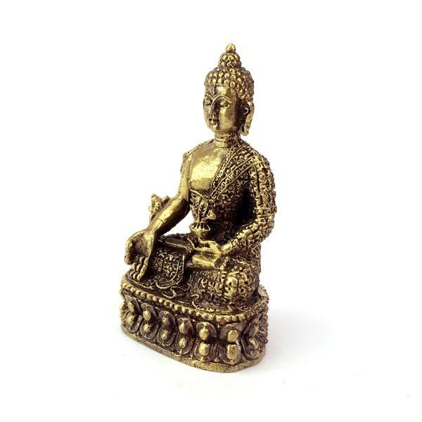 Fairtrade Nepalese Brass Buddha Statuette 3/4 view