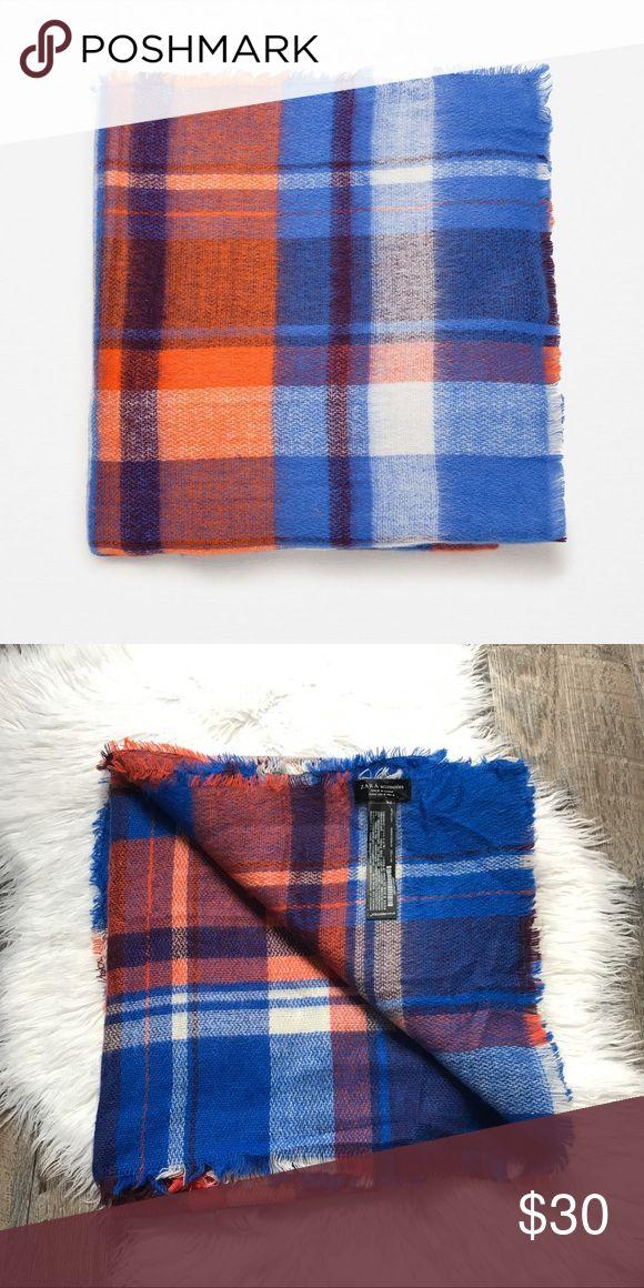 Zara Orange Blue Plaid Blanket Scarf Orange blue and white plaid tartan blanket scarf from Zara. Excellent condition. No trades! Zara Accessories Scarves & Wraps
