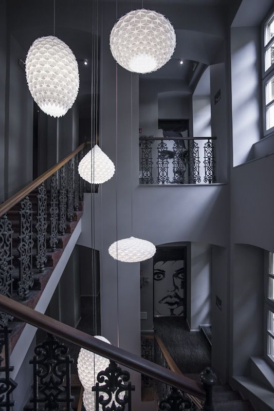 Another view of the staircase designed lamps