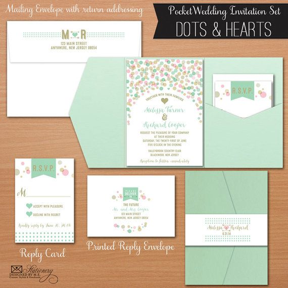Whimsical Mint, Gold & Pink Pocket Fold Wedding Invitations, Dots and Hearts design by Designed By M.E. Stationery