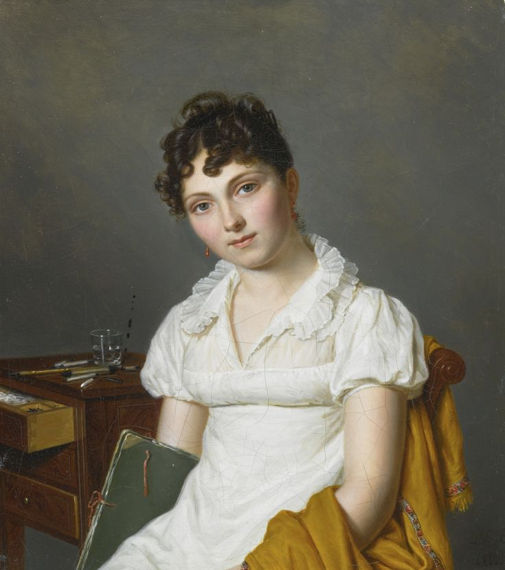 Pierre Louis Bouvier GENEVA 1766 - 1836 PORTRAIT OF A LADY, HALF LENGTH, HOLDING AN ARTIST'S PORTFOLIO, SEATED AT A TABLE WITH A CHEST OF DRAWING PARAPHERNALIA