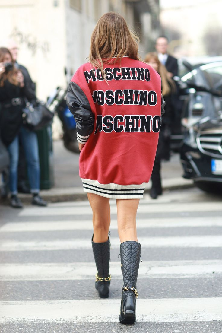 That's Anna Dello Russo playing for team Moschino. #Streetstyle #MFW Fall 2014