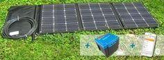 Faltbares Solarmodul plus tragbare Lithiumbatterie, als mobile Solaranlage und Inselanlage für Wohnmobil, Wohnwagen, Gartenhaus oder Camping.