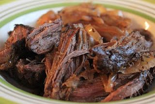 Crockpot Balsamic & Sweet Onion Roast   **11/2013: Also amazing with a venison roast!  It's hard to find great venison recipes.  I started cooking mine before bed the night before - and added 1/2 cup water and the onions in the morning, continued to cook all day.  It fell apart and tasted like beef.  Best venison I've ever made! {DMC}
