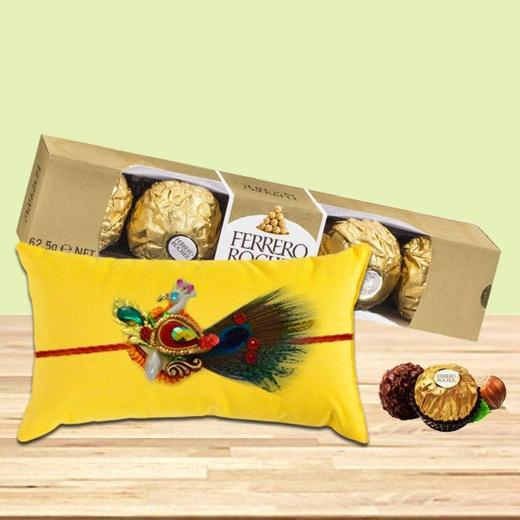 A yummy chocolate hamper is the best way to impress your dearest brother.  Choose to buy this delicious gift #combo  of yummy Ferrero Rocher chocolates and authentic peacock rakhi on this #Rakshabandhan & get 10% off on #Rakhi  products only at #BringHomeFestival