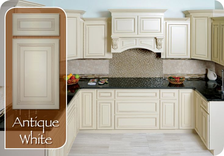 Antique White Kitchen Cabinets By Mk Wood Feature An Old World White Finish Antique White Kitchen Cabinets Kitchen Cabinet Styles Painting Kitchen Countertops