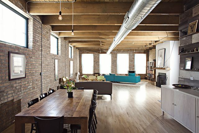 Brick, wood and turquoiseHonor Loft, Design Room, Bricks Wall, Wicker Parks, Interiors Spaces, Interiors Design, Dreams House, Loft Spaces, Photos Shared
