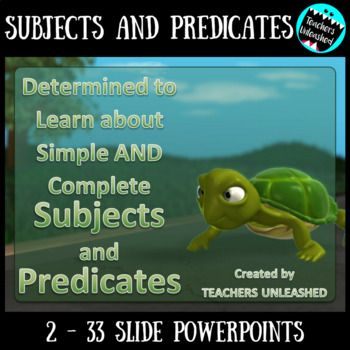 Subjects and Predicates (Simple and Complete) PowerPoint Bundle and Worksheets -Determined to Learn About Simple Subjects and Predicates (PowerPoint) -Determined to Learn About Complete Subjects and Predicates (PowerPoint) -2 Worksheets (One on simple and one on complete)