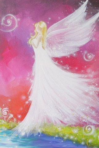 """Limited angel art poster """"angel touch"""" - modern contemporary angel painting, artwork, print, glossy photo,"""